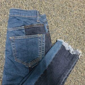BNWT Gianni Bini Two Tone Frayed Denim Jeans